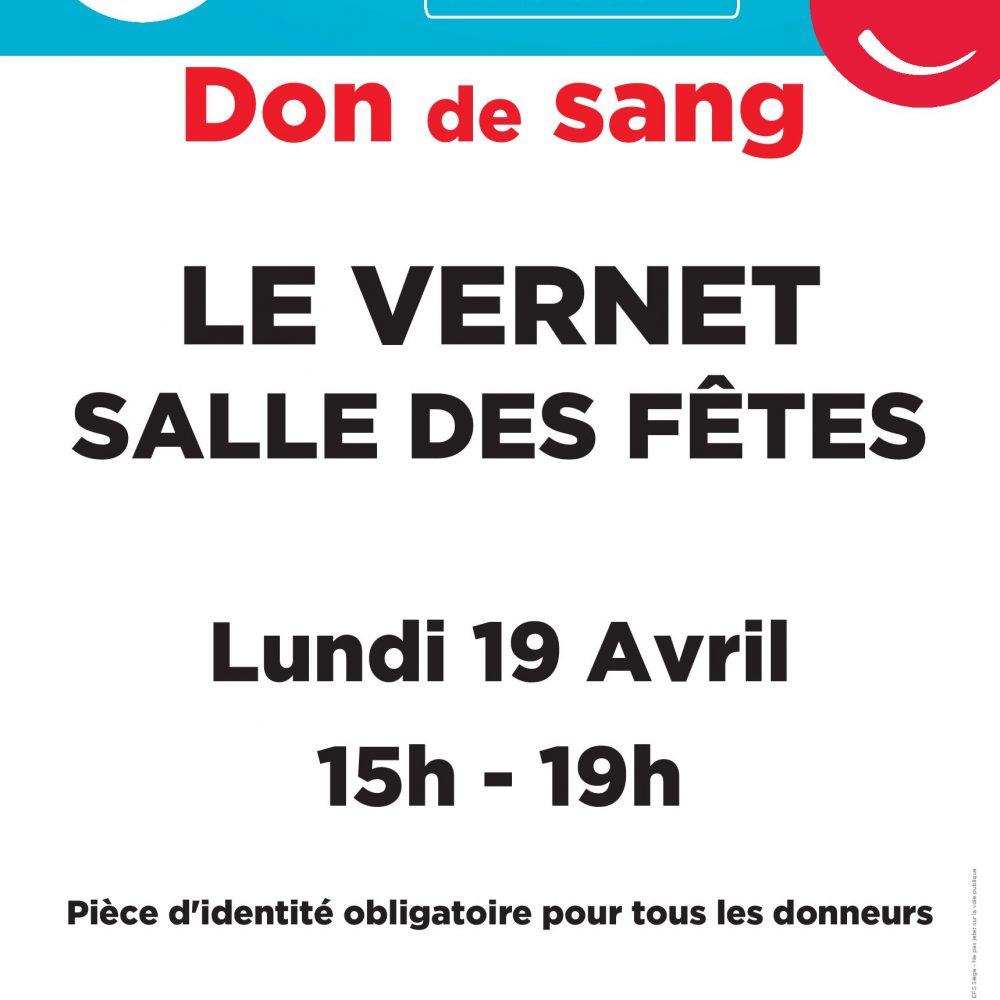 Don de SANG le 19 avril 2021